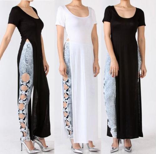 Maxi T-shirt Vestido Longo Com Fenda Atacado Preto Balada