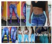 Calca Leg Fitness Estampa Jeans R$25,00