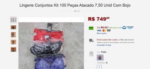 Lingerie Conjuntos Kit 100 Peças Atacado 7,50 Unid Com Bojo