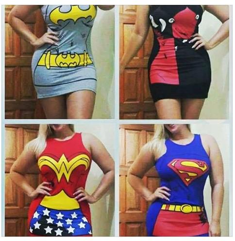 Vestidos Super Herois Fantasias de Carnaval R$22 Atacado