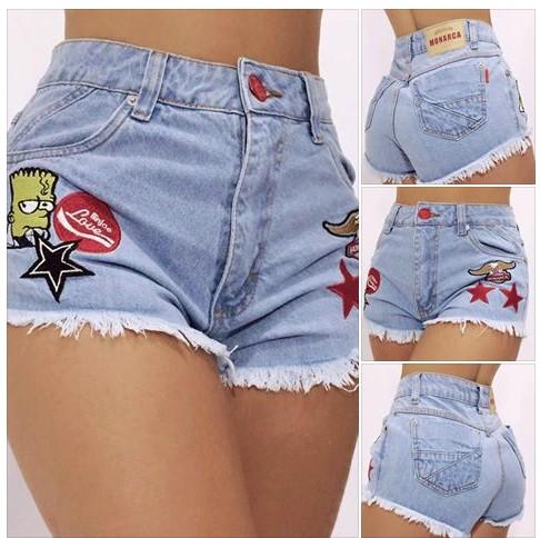 Short HotPant Jeans Bordado R$28 Atacado
