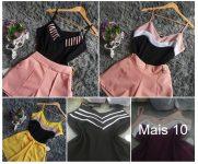 Blusa 3 Cores Tricolor Moda Feminina Fortaleza Atacado