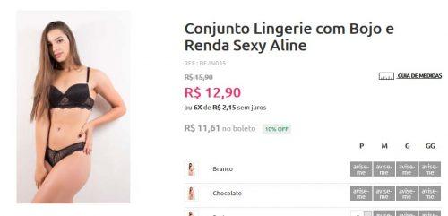 Conjunto Lingerie Bojo e Renda R$12,90 Bella Fiori Modas